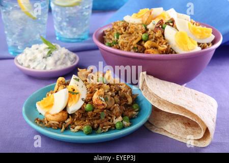 Végétarien INDIEN CURRY BIRYANI AUX CHAMPIGNONS ET NOIX DE CAJOU Photo Stock