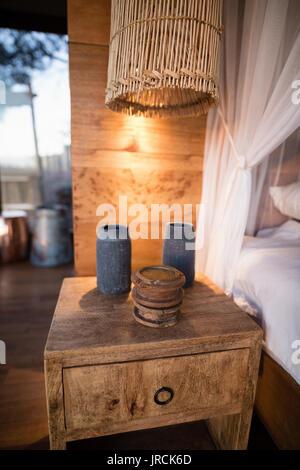 Tiroirs en bois en chalet Photo Stock
