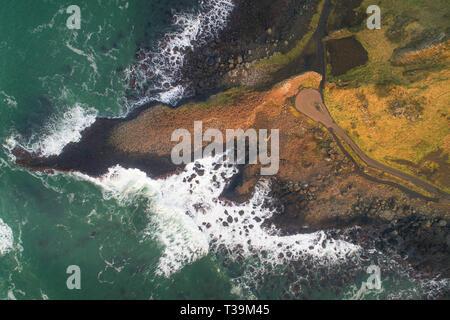 La belle côte de la Chaussée des géants dans le comté d'Antrim, en Irlande du Nord. Photo Stock