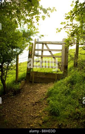 Porte en bois dans la campagne britannique menant à champs ouverts. Photo Stock
