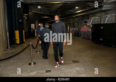 Los Angeles, CA, USA. 18 janvier, 2019. Golden State Warriors #35 Kevin Durant l'avant avant les Golden State Warriors vs Los Angeles Clippers au Staples Center le 18 janvier 2019. (Photo par Jevone Moore) Credit: csm/Alamy Live News Photo Stock