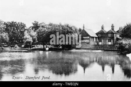 Étang de Stamford, Epsom, Surrey. Date: vers 1908 Photo Stock
