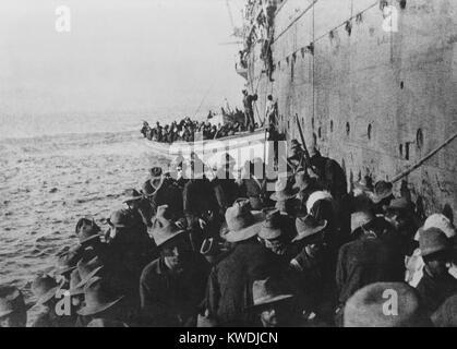 Débarquement amphibie à Arroyo, Puerto Rico, le 3 août 1898 au cours de la guerre hispano-américaine. Photo Stock