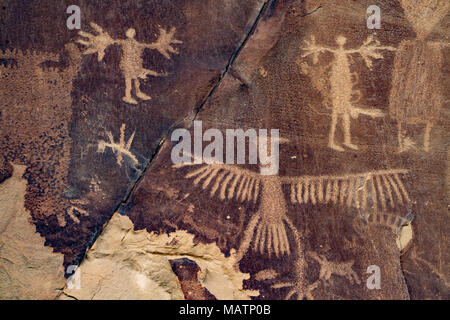 Des pétroglyphes, Legend Rock State Site Archéologique, Wyoming Dinwoody rock art antique Style Photo Stock