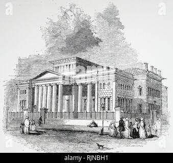 Une gravure représentant l'Institution royale et Athenaeum à Manchester. En date du 19e siècle Photo Stock