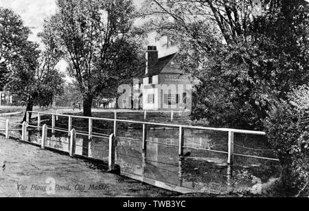 Étang de la charrue à soc et Inn, Old Malden, Worcester Park, Londres SW (Surrey). Date: vers 1910 Photo Stock