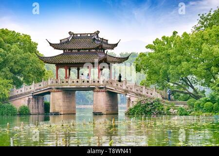 Pavillon du Lac de l'Ouest, à Hangzhou, Chine Photo Stock