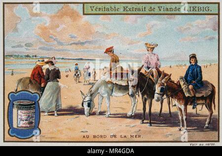 Carte Leibig représentant des enfants français sur la plage 1890 Photo Stock