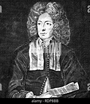 ARCANGELO CORELLI (1653-1713) musicien baroque italien. 1697 Gravure basé sur la peinture. Photo Stock
