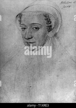 Beaux-arts, François Clouet (1510 - 1572), dessin, 'Madame de Savoie', 1560, Additional-Rights Clearance-Info-Not-Available- Photo Stock