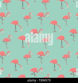Oiseau flamant rose modèle homogène. Fond d'animaux exotiques en saison d'événement ou tropical. Photo Stock