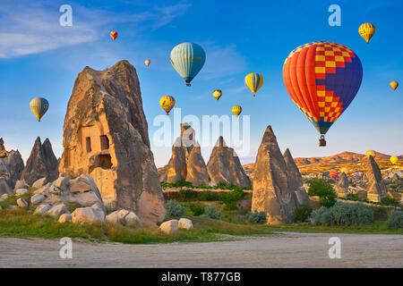 Montgolfières, Goreme, Cappadoce, Turquie Photo Stock