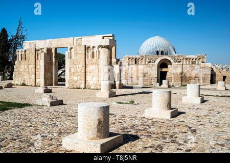 Palais omeyyade sur la colline de la Citadelle, Amman, Jordanie Photo Stock