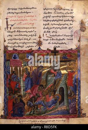 La déposition (Manuscrit illumination du Matenadaran évangile), 1286. On trouve dans la collection de Mesrop Machtots Institut des manuscrits anciens (Matenadaran), Erevan. Photo Stock