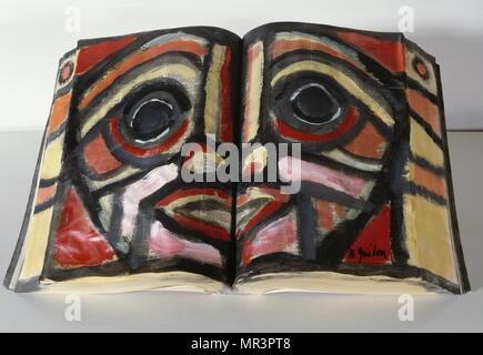 Annuaire en acrylique et papier mâché, 1986 par Henri Guédon peintre et musicien de jazz à partir de la Martinique. (1944-2006). Photo Stock