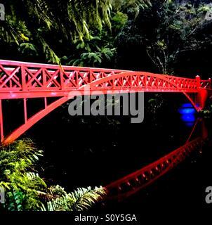 Pont rouge sur le lac, avec les reflets dans l'eau. Photo Stock