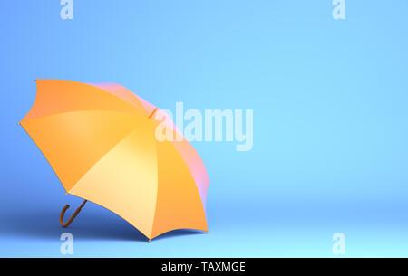 Parapluie jaune sur fond bleu. 3D illustration Photo Stock