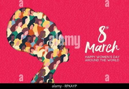 Heureux Womens Day illustration. Coupe papier africaine silhouette fille avec les groupes de femmes à l'intérieur, femme foule pour l'égalité des droits mars ou protestation pacifique conc Photo Stock