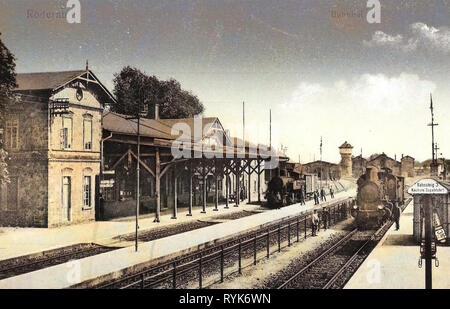 Bahnhof Röderau, châteaux d'eau dans le Landkreis de Meißen, des locomotives à vapeur de l'Allemagne, 1918, Landkreis Meißen, Röderau, Bahnhof Photo Stock