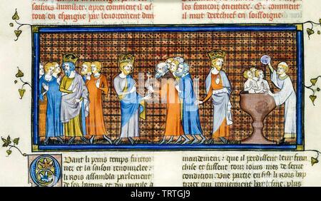 Charlemagne tenant une législature, les Saxons se soumettre à Charlemagne Charlemagne et avoir les Saxons baptisés, illustration, 1332-1350 Photo Stock