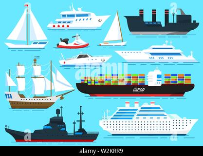 Ensemble de voiliers, navires de mer et bateaux cargo naviguant sur l'eau bleue. Les marins Transport voyage. Vector illustration dans le style dessin animé pour l'été Photo Stock