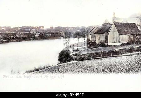 Églises en Saxe-Anhalt, Stiege (Harz), 1904, la Saxe-Anhalt, Stiege, Blick nach Stiege, Allemagne Photo Stock