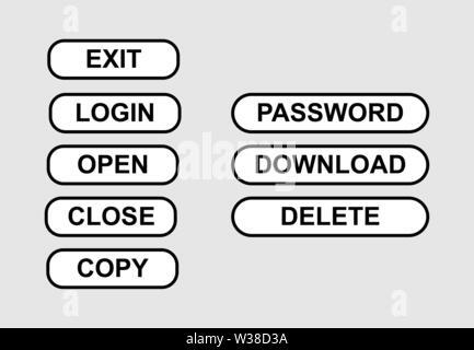 Ensemble de boutons simples avec des mots. Modèle plat Photo Stock