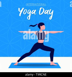 Yoga International Day Greeting card illustration of woman doing warrior pose pour l'esprit et l'exercice de relaxation. Photo Stock