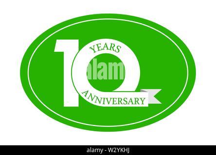 10 ans anniversaire inscription sur ovale bleu, design plat simple Photo Stock