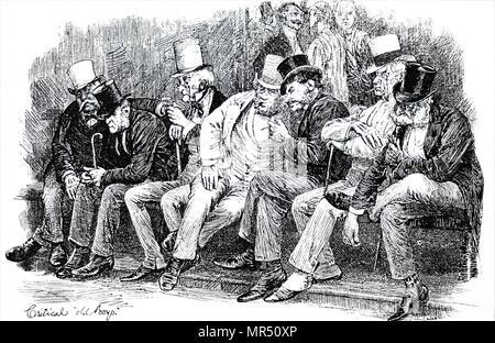 Illustration de spectateurs devant un collège d'Eton et Harrow School de cricket. Illustré par Hugh Thomson (1860-1920), un illustrateur. En date du 19e siècle Photo Stock