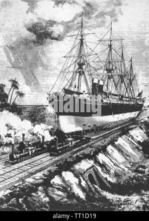 CANAL DE PANAMA illustration futuriste du Scientific American Magazine en 1884 montrant un double-boilerered géant locomotives tirant un navire sur un chemin de fer à travers l'Isthme de Panama Photo Stock