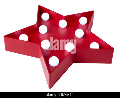 Red star avec ampoules blanc Photo Stock