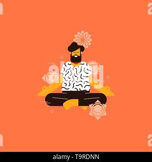 Jeune homme faisant du yoga lotus posent avec des icônes de chakra pour la santé et la forme concept. Photo Stock