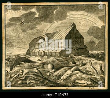 Moyen-orient, la Turquie, de l'Agroalimentaire, Le Mont Ararat, la Mésopotamie, l'arche de Noé, la gravure sur cuivre à partir d'une Bible néerlandais, vers 1700. Copyright de l'artiste , n'a pas à être effacée Photo Stock