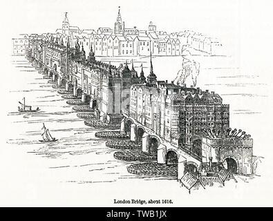 Old London Bridge, montrant le Southwark gatehouse avec les chefs des criminels exécutés sur elle. Date: vers 1616 Photo Stock