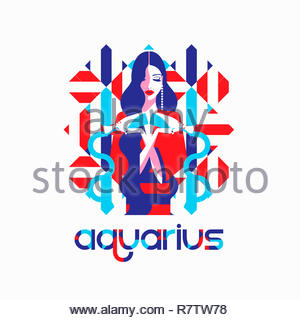 Modèle de mode à motif géométrique comme verseau signe du zodiaque Photo Stock