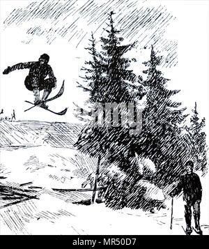 Illustration ski Fridtjof Nansen. Fridtjof Nansen (1861-1930), un explorateur norvégien, scientifique et diplomate, humanitaire, et lauréat du Prix Nobel. En date du 20e siècle Photo Stock