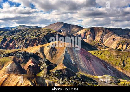 Brennisteinsalda, Landmannalaugar, montagnes, hauts plateaux, vue, Islande, Europe Photo Stock
