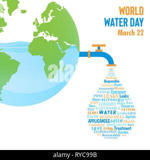 Journée mondiale de l'illustration pour le changement climatique et de l'environnement concept care. La planète Terre avec bleu forme goutte précédemment. Photo Stock