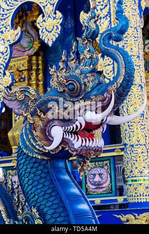 Tête de Naga à Wat Rong Suea dix (Temple bleu) à Chiang Rai, Thaïlande, Asie du Sud, Asie Photo Stock