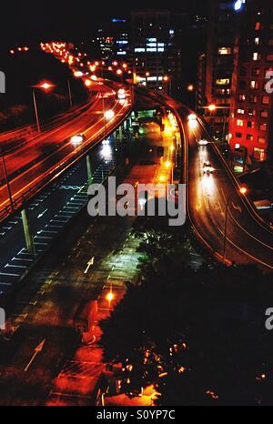 Vues de nuit d'autoroute Photo Stock