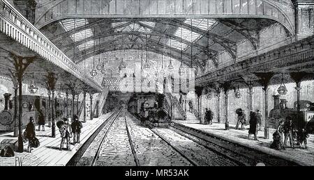 Illustration de la station Aldgate sur la ligne Metropolitan. En date du 19e siècle Photo Stock