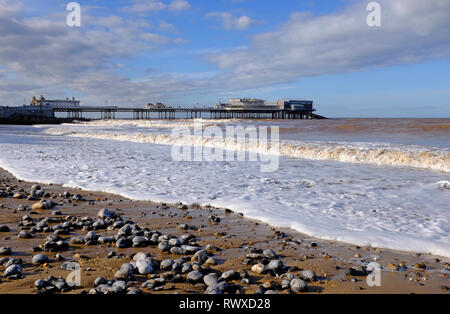 Plage de Cromer et jetée, North Norfolk, Angleterre Photo Stock