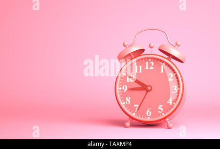 Réveil sur le fond rose. 3D illustration Photo Stock
