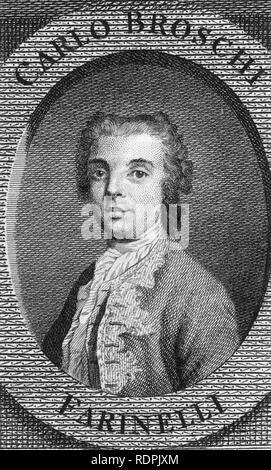 CARLO FARINELLI (1705-1782) chanteur castrat Italien Photo Stock