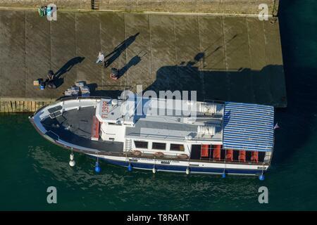 France, Morbihan, Ile-aux-Moines, vue aérienne du port de l'Ile aux Moines Photo Stock