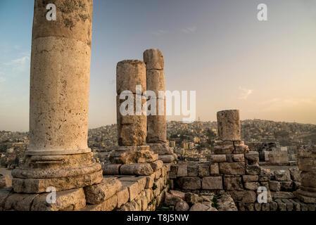 Temple d'Hercule et de paysage urbain, Amman, Jordanie Photo Stock