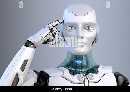 Robot est titulaire d'un doigt près de la tête. 3D illustration Photo Stock