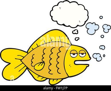 Freehand appelée bulle pensée cartoon funny fish Photo Stock