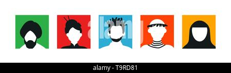 Diverses personnes font face à des icônes ou des avatars dans l'arrière-plan coloré. Portraits de tête, asiatique et africain-américain. Photo Stock